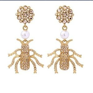 Imitation Pearl & Crystal Insect Drop Earrings NWT